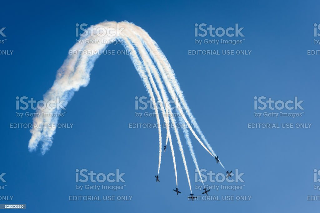 Aerobatic display team from the United Arab Emirates stock photo
