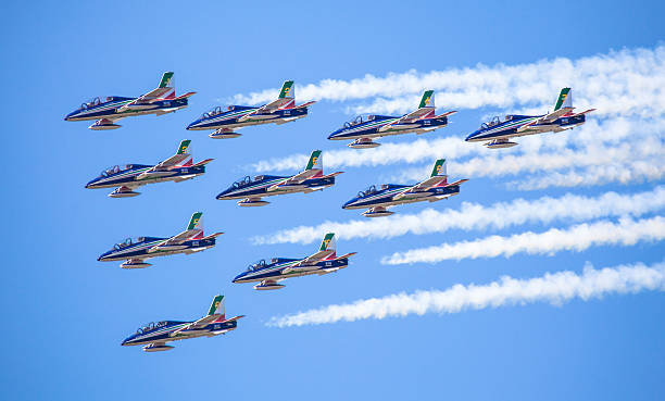 Aerobatic group Frecce Tricolori stock photo