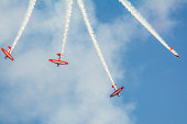 Chicago, USA - Aug 20, 2017: Aerobatic planes performing during 2017 Chicago Air and Water Show. The Chicago Air and Water Show is the largest annual air show in the US. It attracts 2 million people to crowd the lakefront every year.