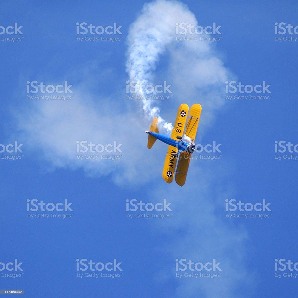aerobatic stunt Stearman Kaydet biplane stock photo