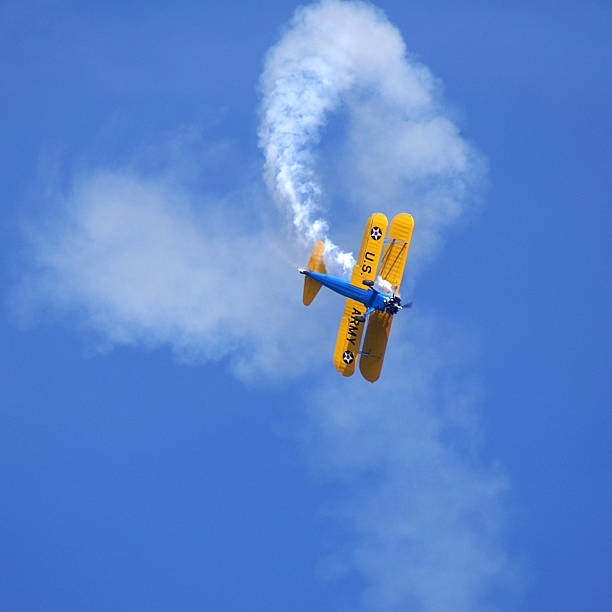 aerobatic stunt stearman kaydet biplane - airshow stock photos and pictures