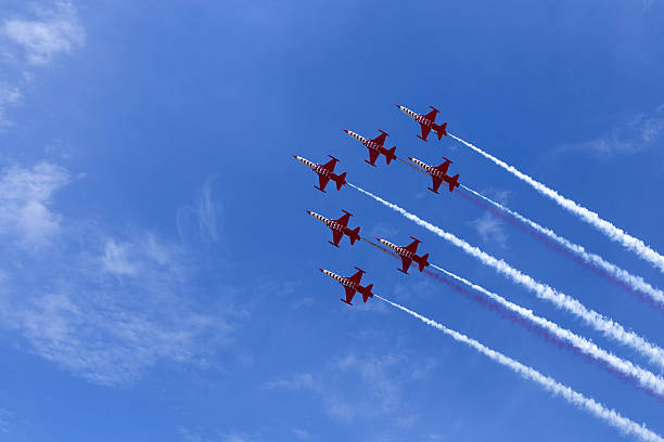 aerobatic team at airshow - airshow stock photos and pictures