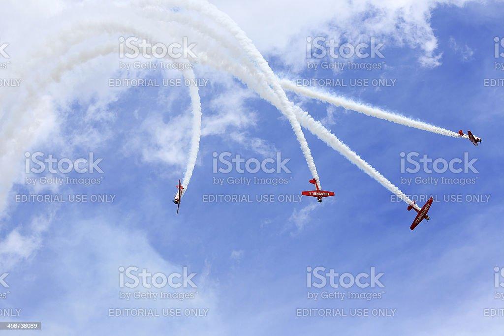 Aerobatic team performing during Oshkosh AirVenture 2013 stock photo