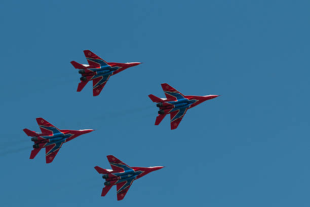"aerobatic team ""swifts"" at an air show - aviation and environment summit stock photos and pictures"