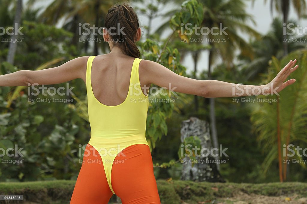 Aerobic at the beach royalty-free stock photo