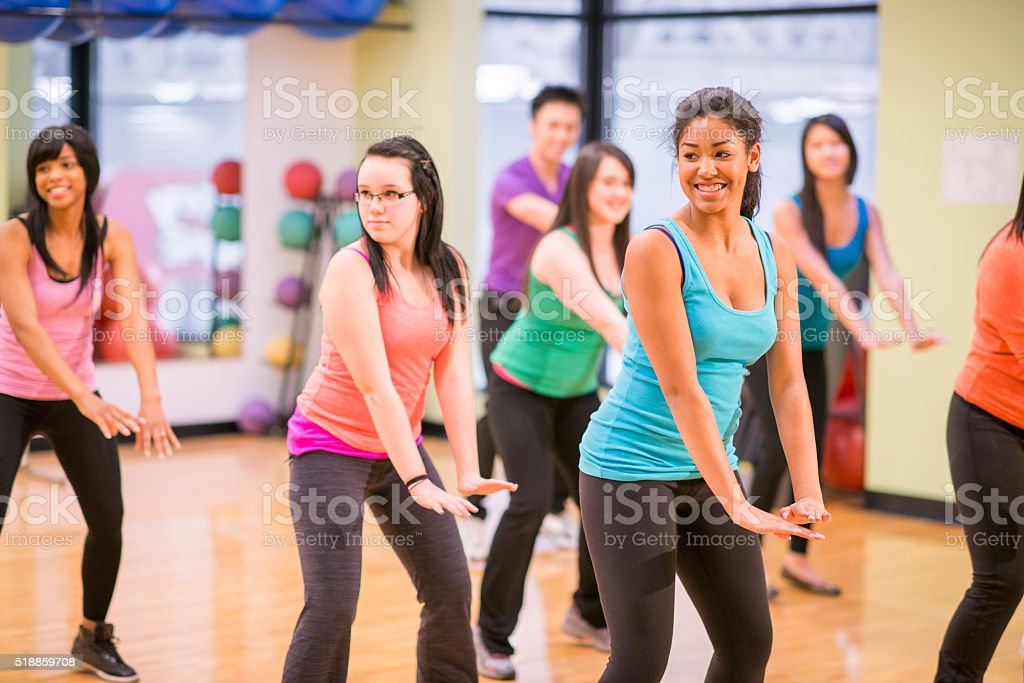 Aerobic Dance Class at the Gym stock photo