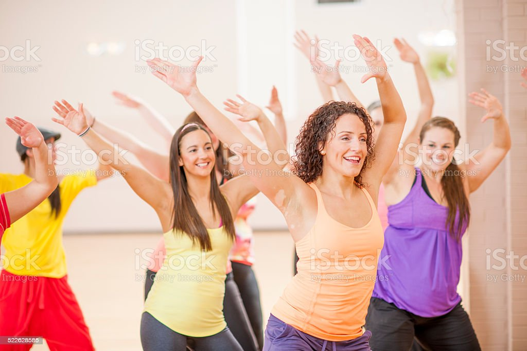 Aerobic Fitness Class at the Gym stock photo
