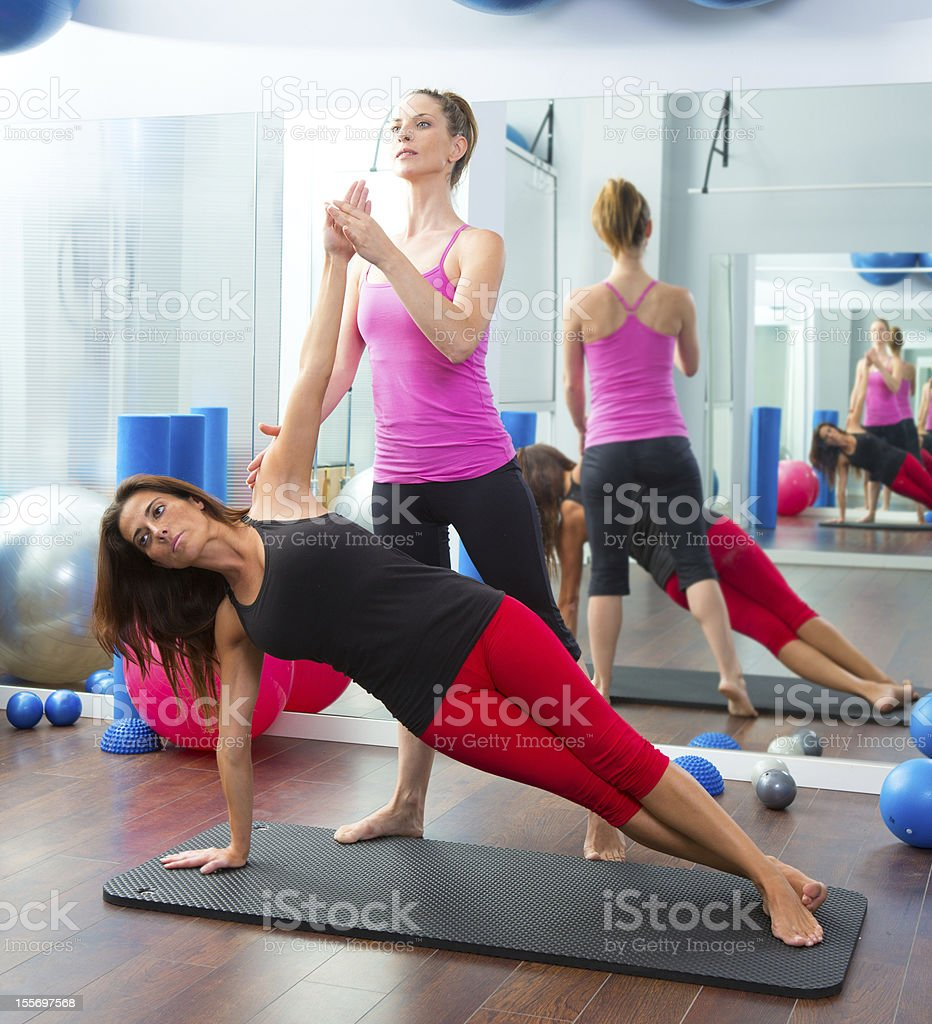 Aerobic Pilates personal trainer instructor women royalty-free stock photo