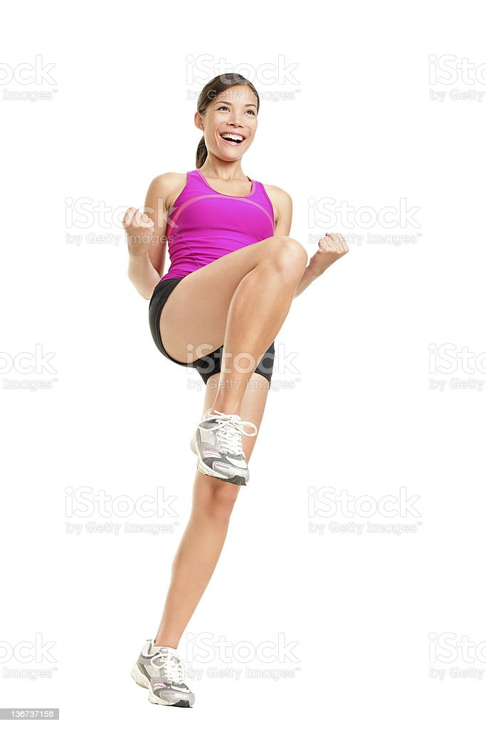 Aerobics fitness dancing woman stock photo