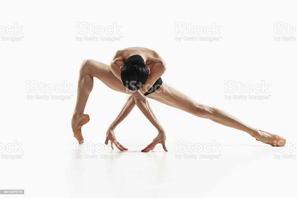 Aerobics fitness woman exercising isolated in full body royalty-free stock photo