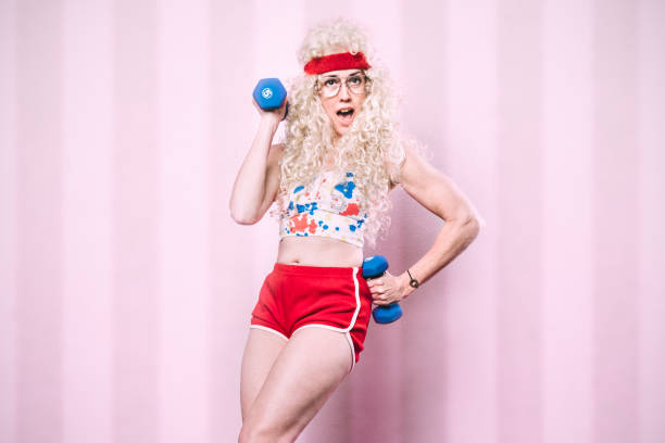 aerobics teacher working out - aerobics stock photos and pictures