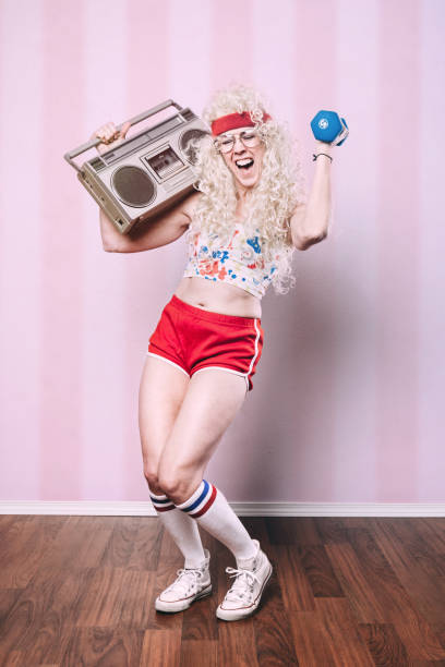 aerobics teacher working out - 1980s style stock photos and pictures