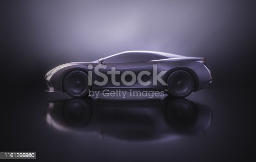 Sports car concept made in 3D software. Concept image of prototype and aerodynamic tests.