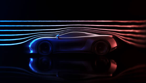 Aerodynamic Wind Tunnel Sports Car Concept Sports car concept made in 3D software. Concept image of prototype and aerodynamic tests. concept car stock pictures, royalty-free photos & images