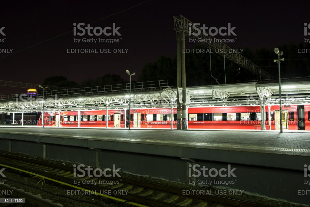 Aeroexpress Train at the Belorussky railway station. Moscow, Russia -- high-speed train acquired OAO 'Russian Railways' for use on the Russian high-speed railways stock photo