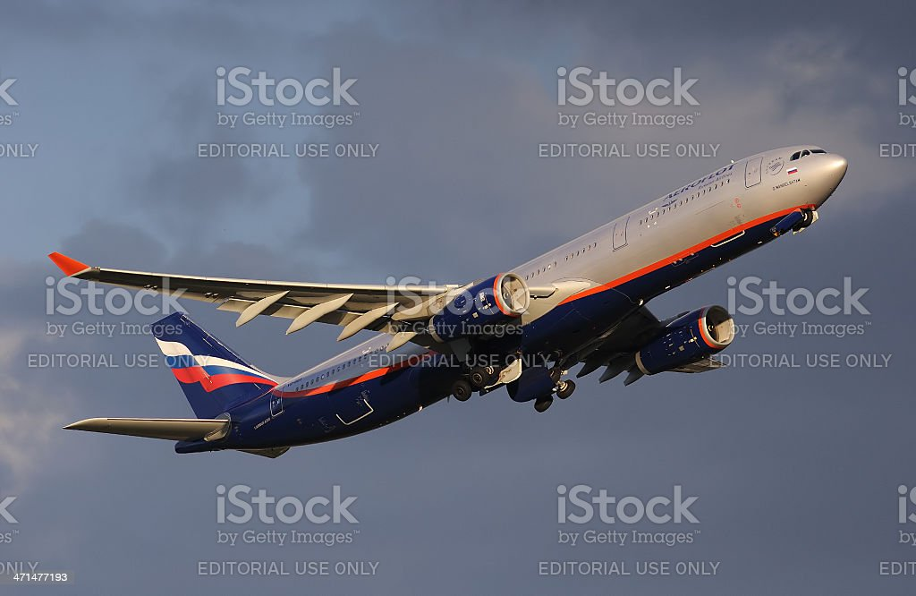 Aeroflot Airbus A330 departing from the Moscow royalty-free stock photo