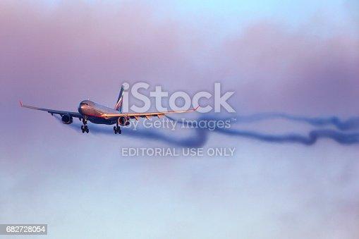 istock Aeroflot Airbus A330 landing at Sheremetyevo international airport. 682728054