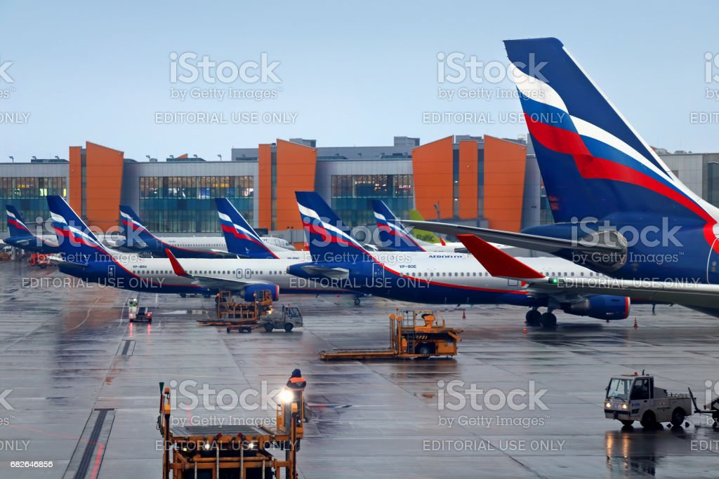 Aeroflot aircrafts at Moscow Sheremetyevo airport stock photo