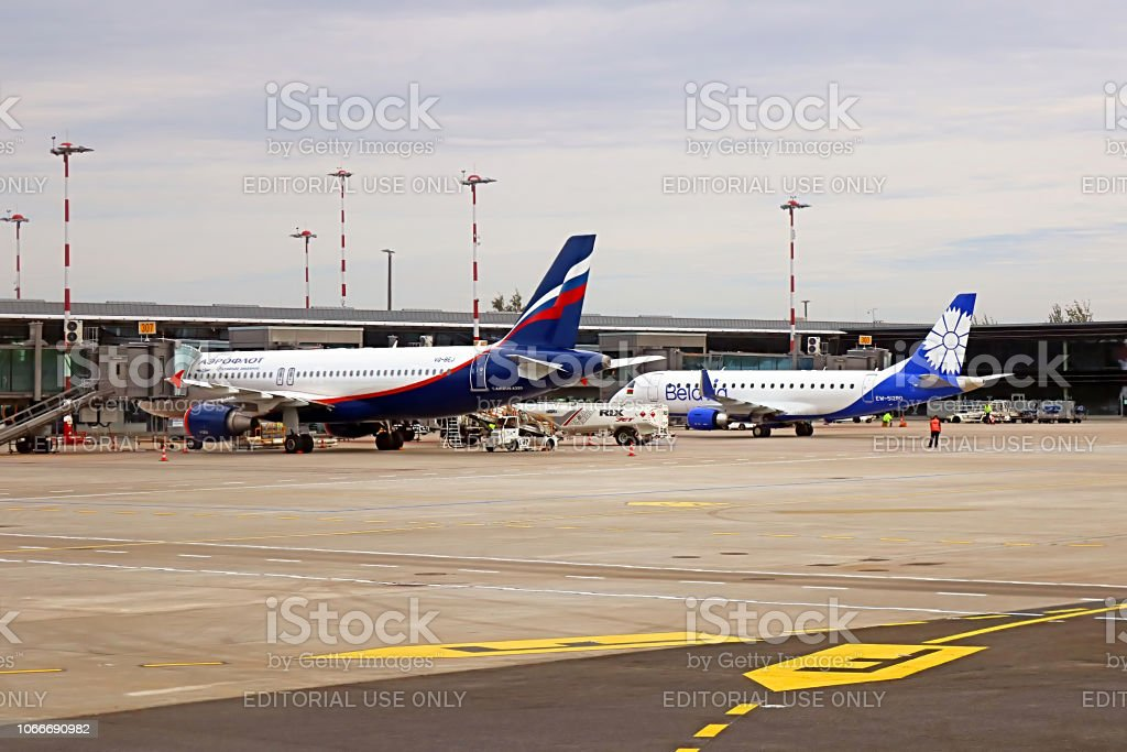 Aeroflot (Russian Airlines) and Belavia (Belarusian Airlines) airplanes in the morning stock photo