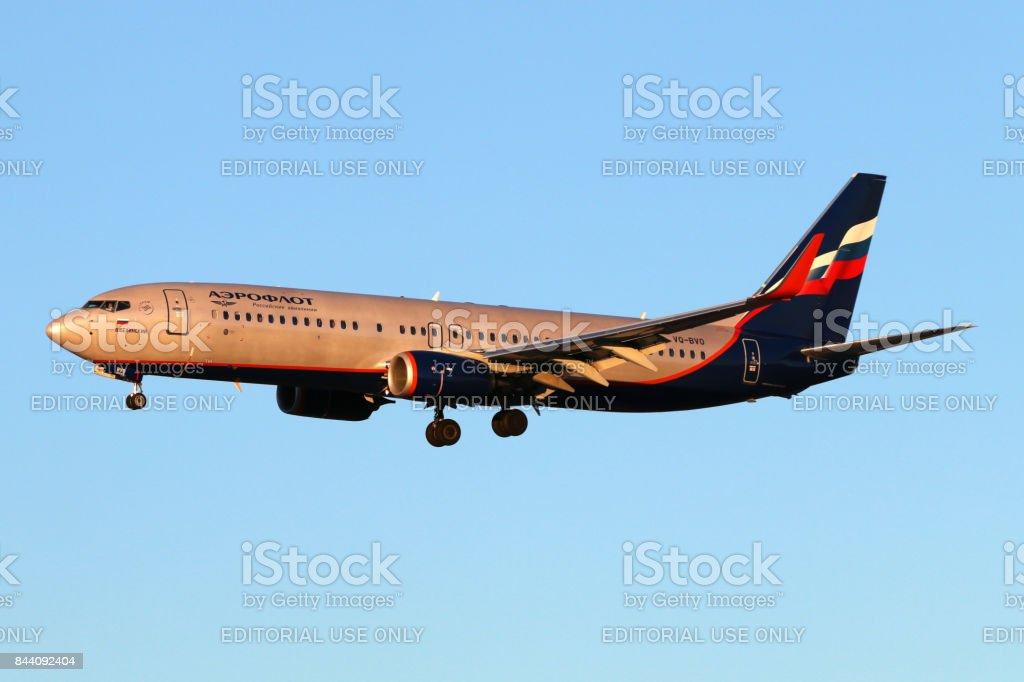 Aeroflot Boeing 737-800 VQ-BVO landing at Sheremetyevo international airport. stock photo