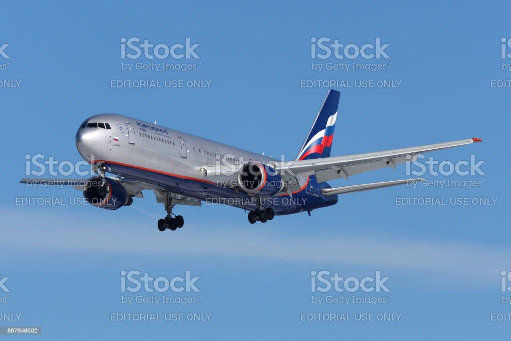 Aeroflot Boeing 767-300 VP-BWW landing at Sheremetyevo international airport. stock photo