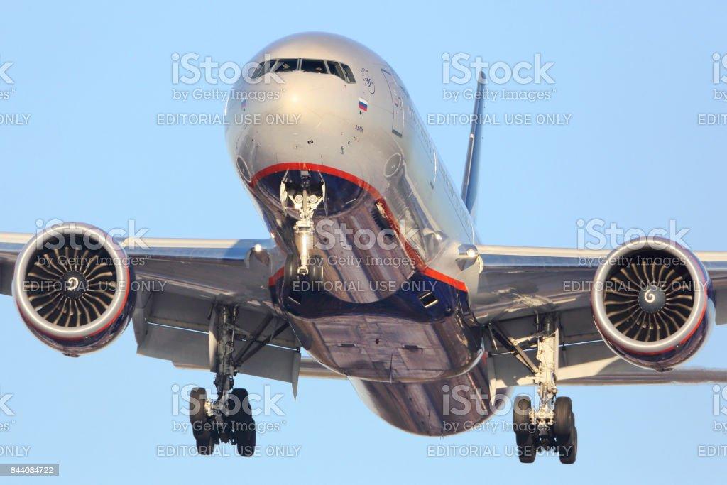 Aeroflot Boeing 777-300 VQ-BQF landing at Sheremetyevo international airport. stock photo
