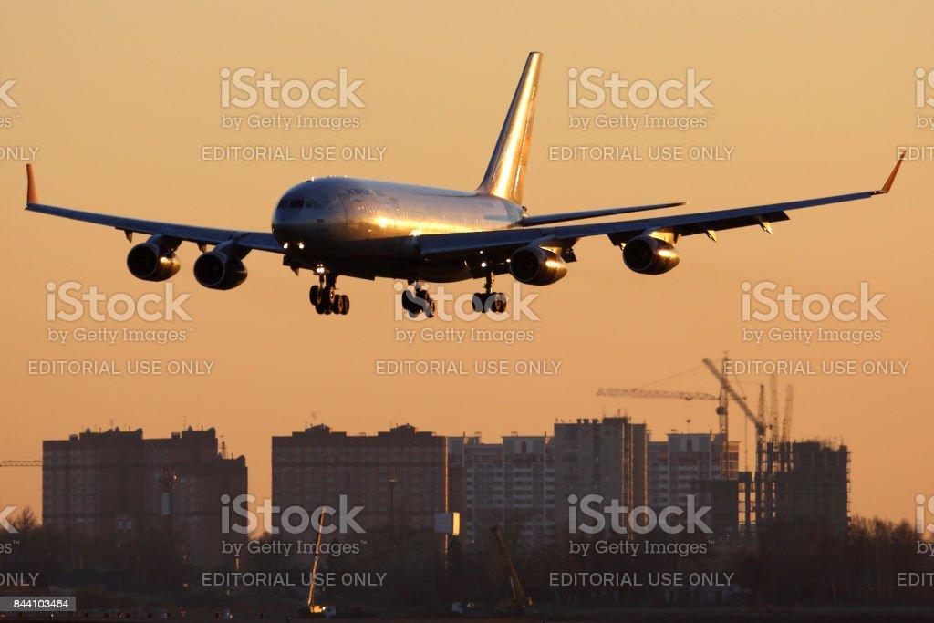 Aeroflot Ilyushin IL-96-300 RA-96008 landing at Sheremetyevo international airport. stock photo