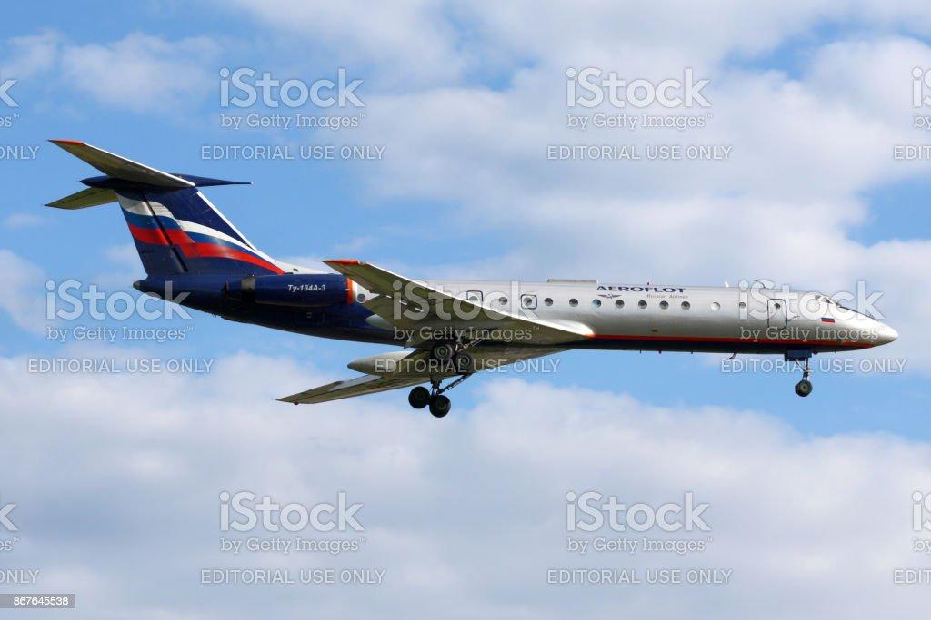 Aeroflot Tupolev Tu-134 landing at Sheremetyevo international airport. stock photo