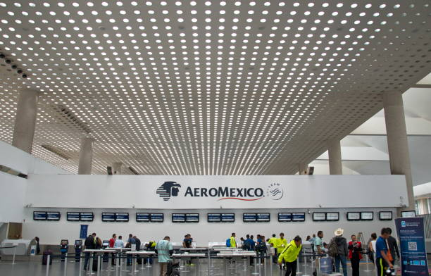 Aeromexico Check In Counter at Benito Juaréz International Airport stock photo