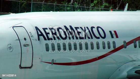 istock Aeromexico Passengers Airplane Packed At Cancun International Airport Close Up View. Mexico 941400914