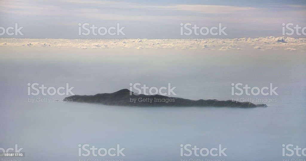 Aerophotography of Saint George island. East Attica. Greece stock photo