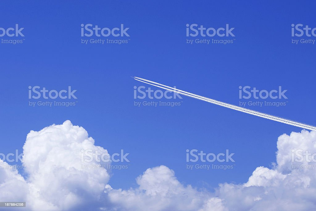 Aeroplane and Clouds stock photo