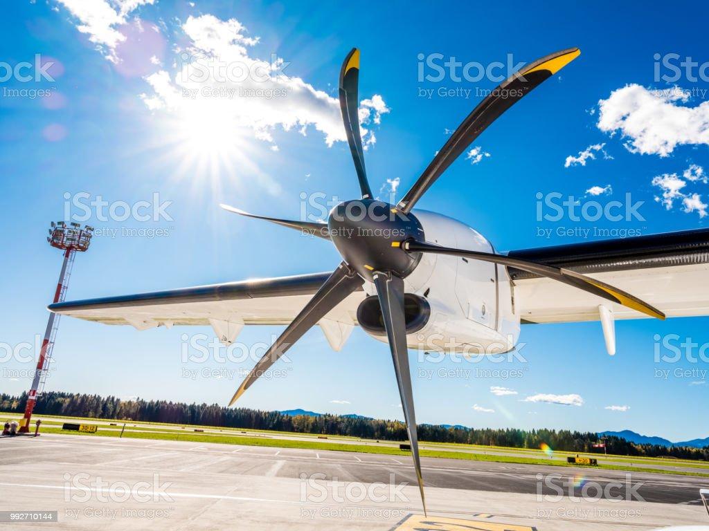 Aeroplane propeller on runway stock photo