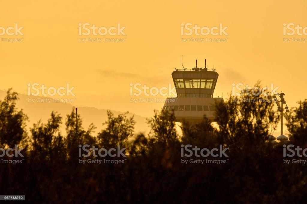 Aeroport control tower - Barcelona international airport stock photo