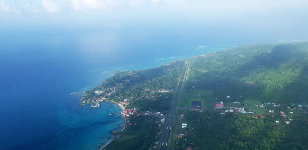 Aeroport on Caribbean island stock photo