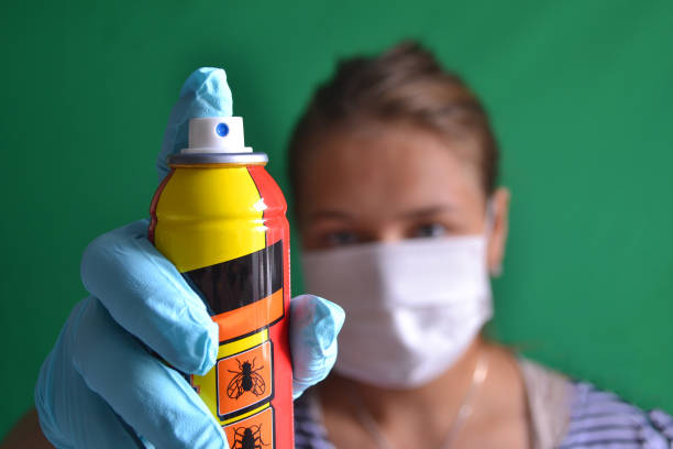 Aerosol for insect control in the hands of a woman wearing a mask. Aerosol for insect control in the hands of a woman wearing a mask. crop sprayer stock pictures, royalty-free photos & images