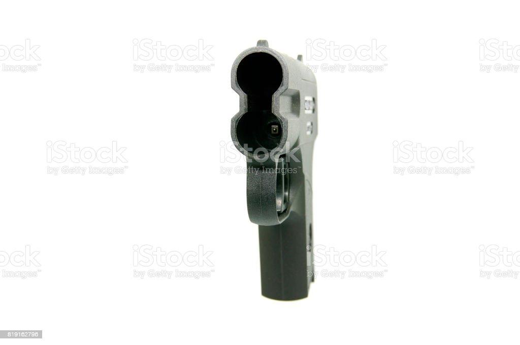 Aerosol pistol, gas weapon on a white background stock photo