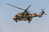 TURAF 3rd Main Jet Base, Konya, Turkey - June 25, 2019: Turkish Air Force Aerospatiale Puma (Cougar) military helicopter in flight.