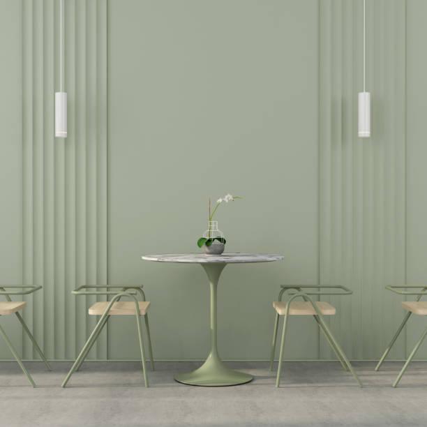 Сafe interior in green with concrete floor stock photo