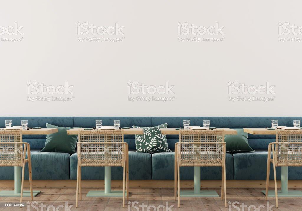 Сafe interior with soft blue sofa Stylish cafe interior with soft blue sofa, wooden tables, chairs and parquet / 3D illustration, 3d render Bar - Drink Establishment Stock Photo