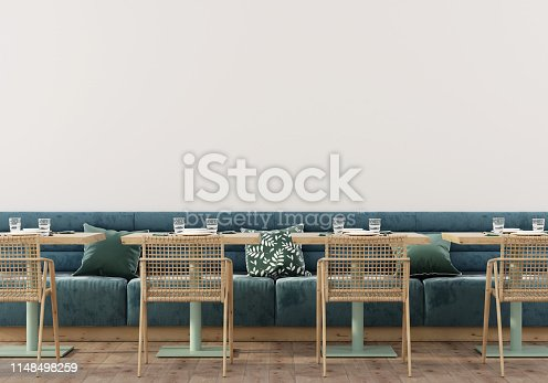 Stylish cafe interior with soft blue sofa, wooden tables, chairs and parquet / 3D illustration, 3d render