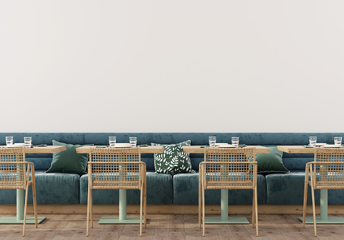 Сafe Interior With Soft Blue Sofa Stock Photo - Download Image Now