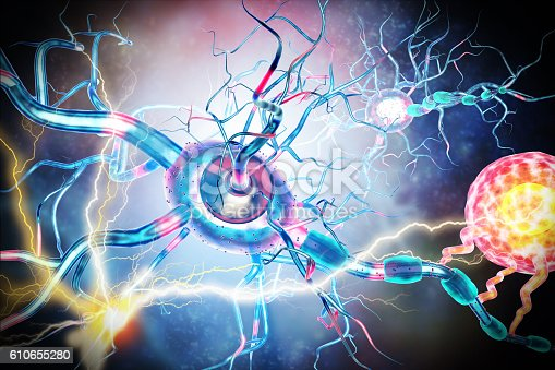 istock Affected Nerve cells, concept for Neurological Diseases,tumors,brain surgery. 610655280