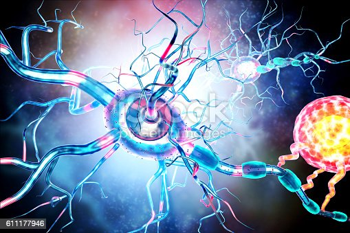 istock Affected Nerve cells, concept for Neurological Diseases,tumors,brain surgery. 611177946