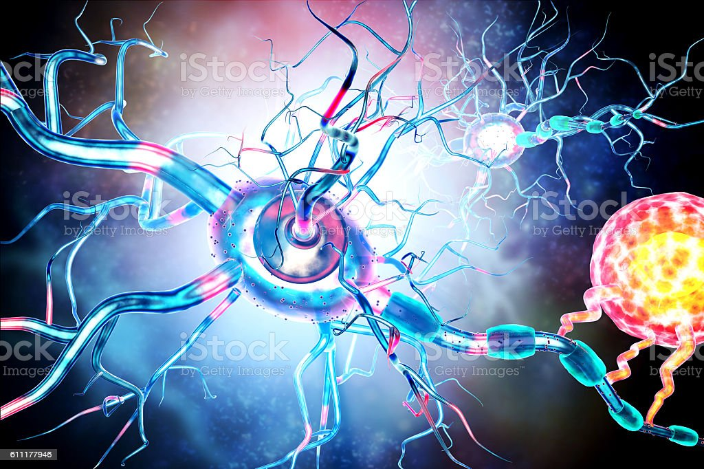 Affected Nerve cells, concept for Neurological Diseases,tumors,brain surgery. stock photo