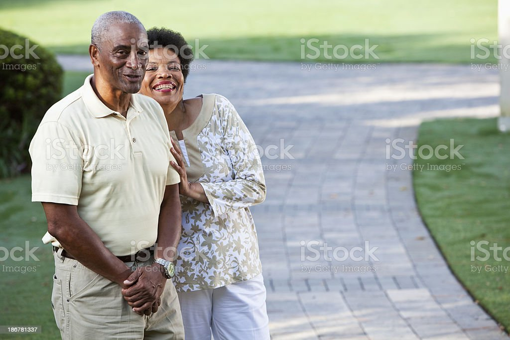 Affectionate African American couple outdoors royalty-free stock photo