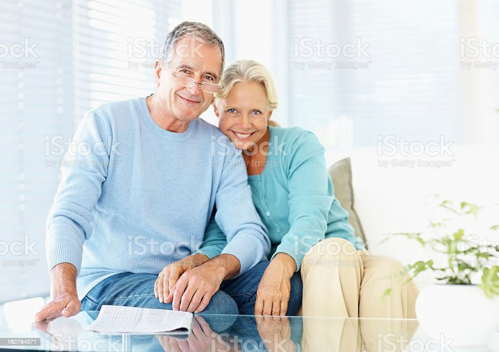 Affectionate couple spending leisure time together at home royalty-free stock photo