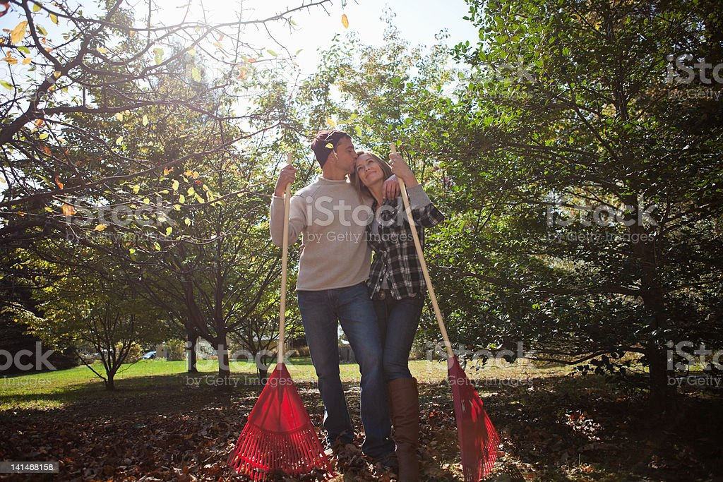 Affectionate couple with leaf rakes stock photo