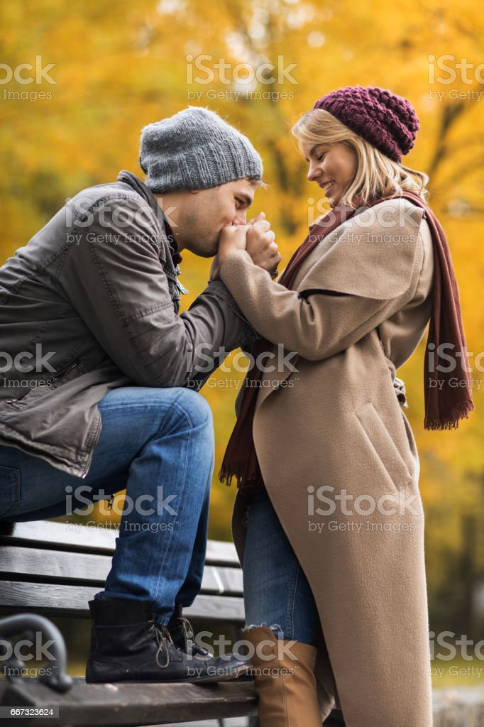 Affectionate man kissing girlfriend's hands in park during autumn. stock photo