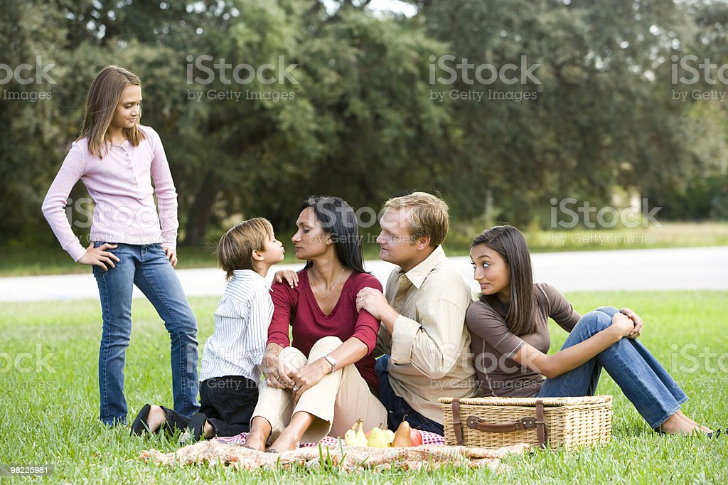 Affectionate modern multicultural family enjoying a picnic royalty-free stock photo